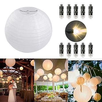 Dazone 10 Stücke Papierlaterne weiß Lampion + 10er Warmweiße Mini LED-Ballons Lichter, rund Lampenschirm Hochtzeit Party Deko