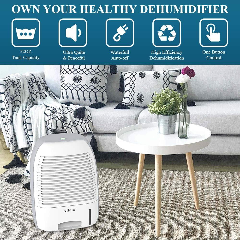 Afloia Dehumidifier for Home,Electric Dehumidifier 52oz Capacity Deshumidificador Quiet Room Dehumidifier Portable Dehumidifiers for Home Bathroom Bedroom Dorm Room Baby Room RV Crawl Space
