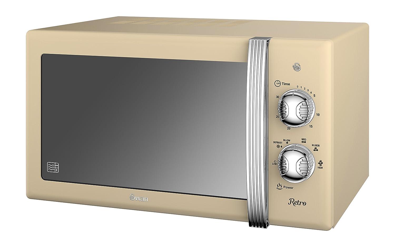 Retro Kitchen Small Appliances Swan Sm22130cn Retro Manual Microwave 20 Litre 800 W Cream