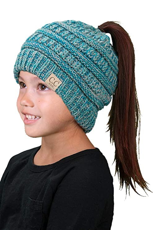 BT2-3847-816.11 Kids Messy Bun Ponytail Winter Hat Girls Beanie Tail - Blue 4#15 best ponytail beanies