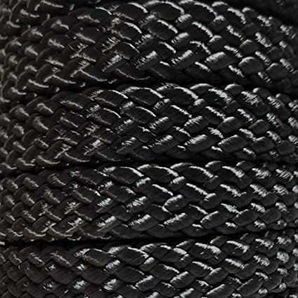 """3//4/"""" x 150 ft High Quality US Made Black hollow//flat braid polyester rope"""