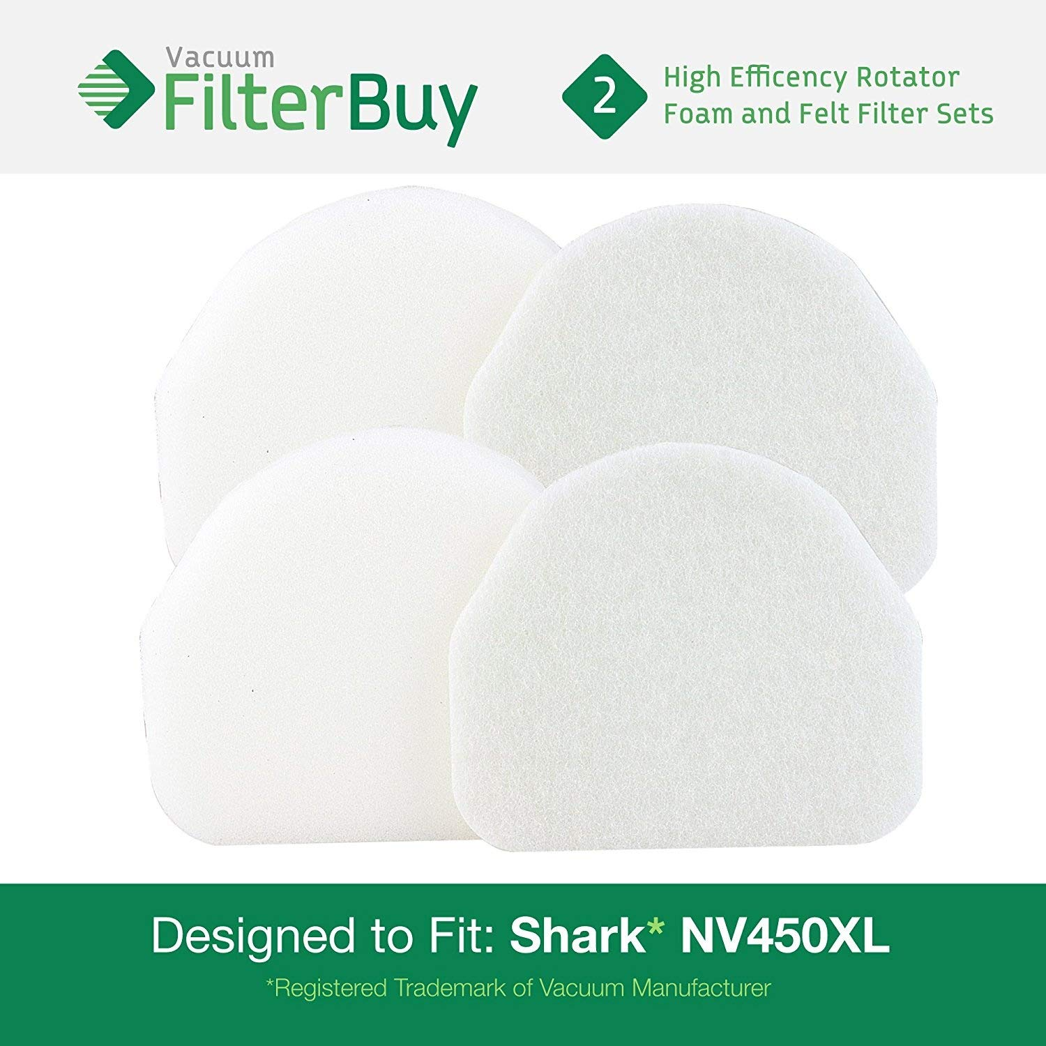 Shark NV480 /& NV450 Foam /& Felt Filter Kits FilterBuy 2 Part #XFF450 Designed to fit Shark Rocket Pro NV480 /& Shark Rotator Powerlight NV450 Upright Vacuums