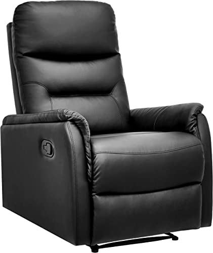 AmazonBasics Modern Faux Leather Pull-Tab Recliner Chair – Black