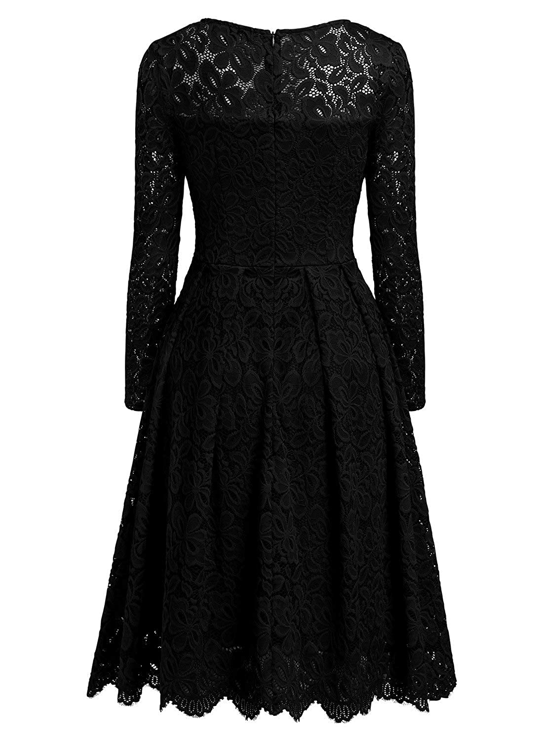 MISSMAY Womens Vintage Floral Lace Long Sleeve Boat Neck Cocktail Party Swing Dress