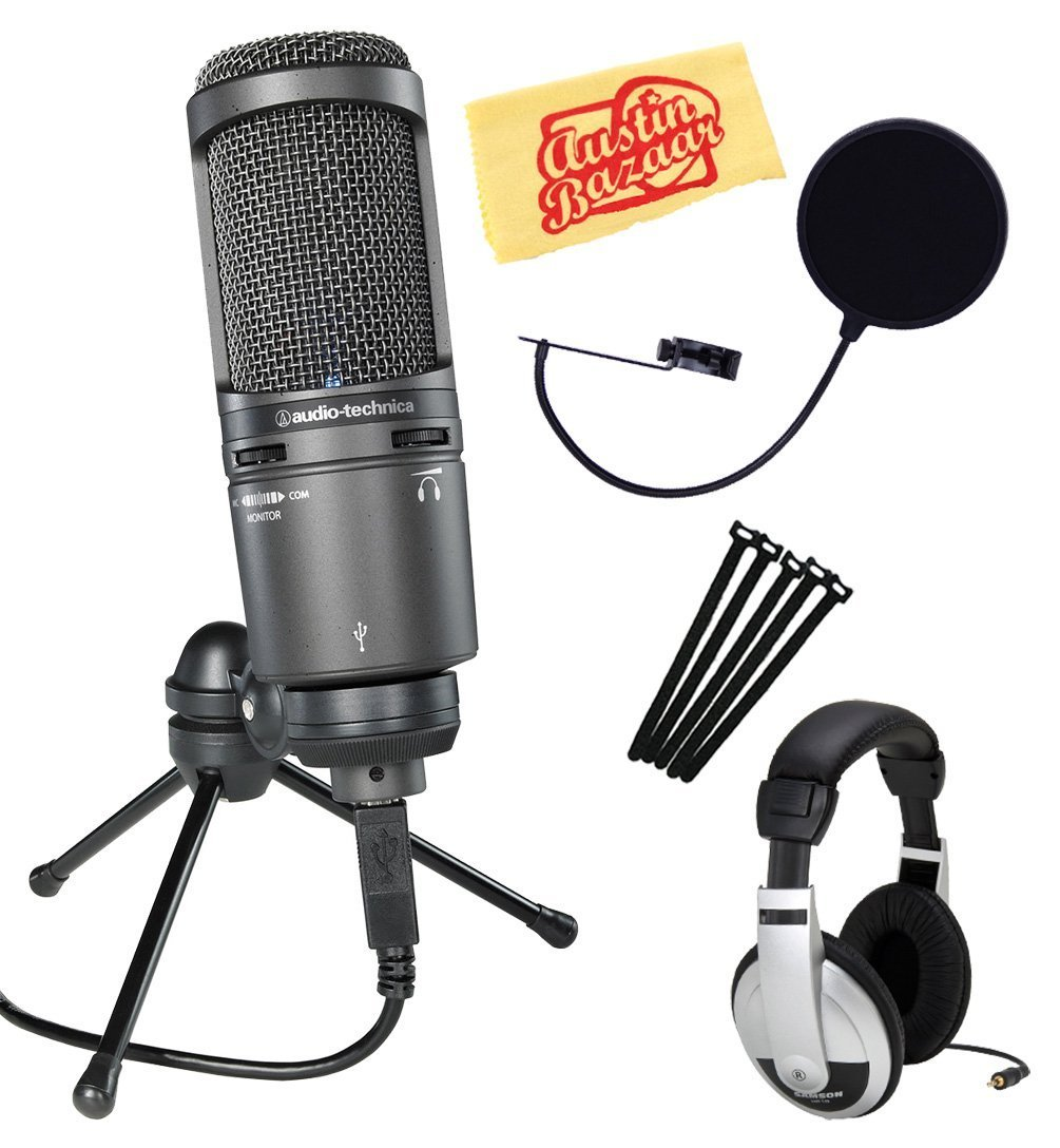Audio-Technica AT2020USB+ Cardioid Condenser USB Microphone Bundle with Headphones, Pop Filter, Cable Ties, and Austin Bazaar Polishing Cloth