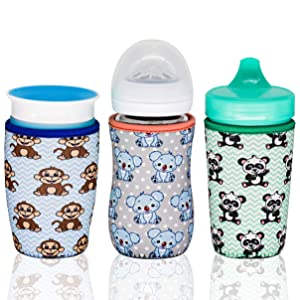 Kanudle Glass Baby Bottle Sleeve for 8 oz Philips Avent | Sippy Cup Cover | Neoprene Cover | Non Slip Grip | Set of 3
