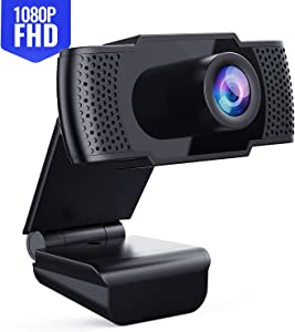 Webcam with Microphone - Full 1080P HD PC Webcam Portable Compatible with Most of Device & App, Plug and Play Webcam for Online conferencing Gaming Live Streaming Laptop Desktop USB 2.0 Web Camera