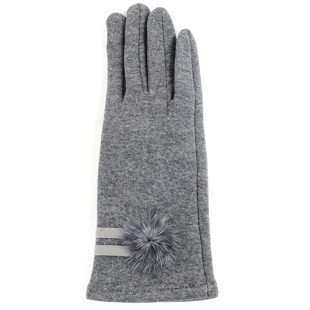 BYOS Ladies Winter Texting Gloves for All Touch-Screen Devices Smartphone & Tablet, Fleece Lined Two Fingertips Conductive Tech (Small, Gray Fur Pom)