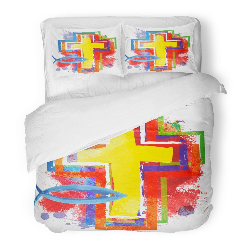 SanChic Duvet Cover Set Artistic Abstract Watercolor Colorful Modern Christian Cross Fish Symbol Jesus Christ Decorative Bedding Set Pillow Sham Twin Size