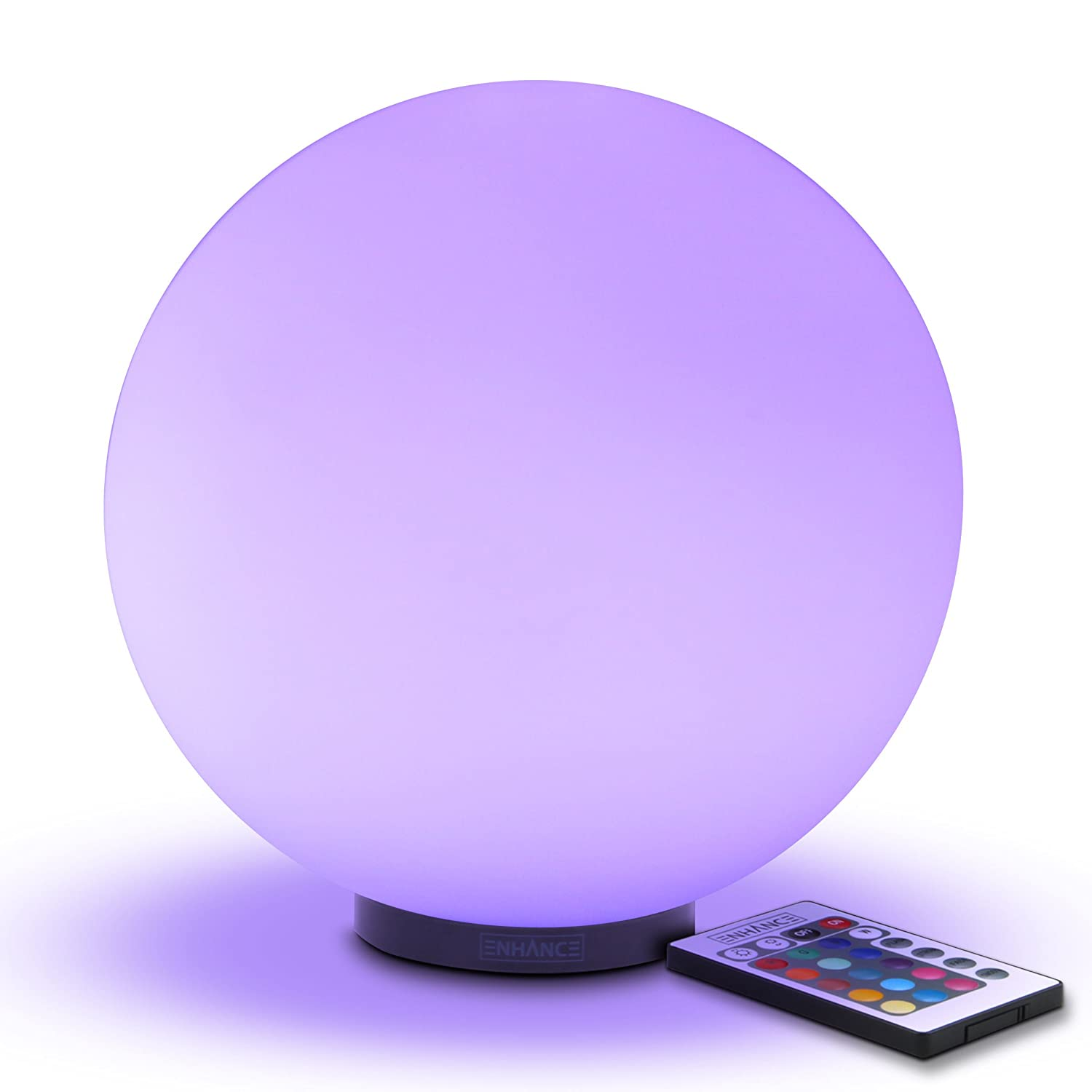 Great for Children /& Babies ENMDLM0100BKUS ENHANCE Kids LED Globe Night Light Ambient Color Changing Glass Mood Lamp 5.9 inch Wireless Remote Control 4 Lighting Modes /& Battery or AC Adapter Power