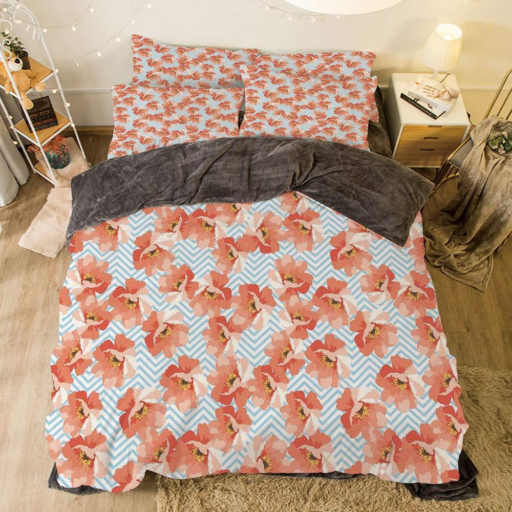 フランネル布団カバー4点セット ベッドリネン 冬休みパターン コーラル オーガニックフローラルシェイプ トゥエンティス ファッション ビクトリア朝 タイル レトロ ボーホーアートプリント コーラルオレンジホワイト bed width 6.6ft(200cm) BotFLR_Hei_04650_2mCalif king bed width 6.6ft(200cm) カラー10 B07LCPV256