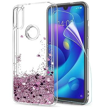 LeYi Funda Xiaomi Mi Play Silicona Purpurina Carcasa con HD Protectores de Pantalla,Transparente Cristal Bumper Telefono Fundas Case Cover para Movil ...