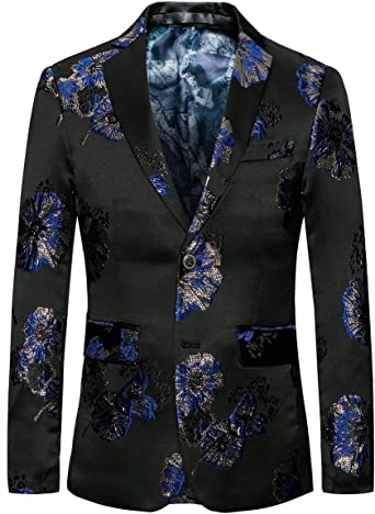 MOGU Hombre Blazer Negro clásico Vestido de Jacquard Floral ...