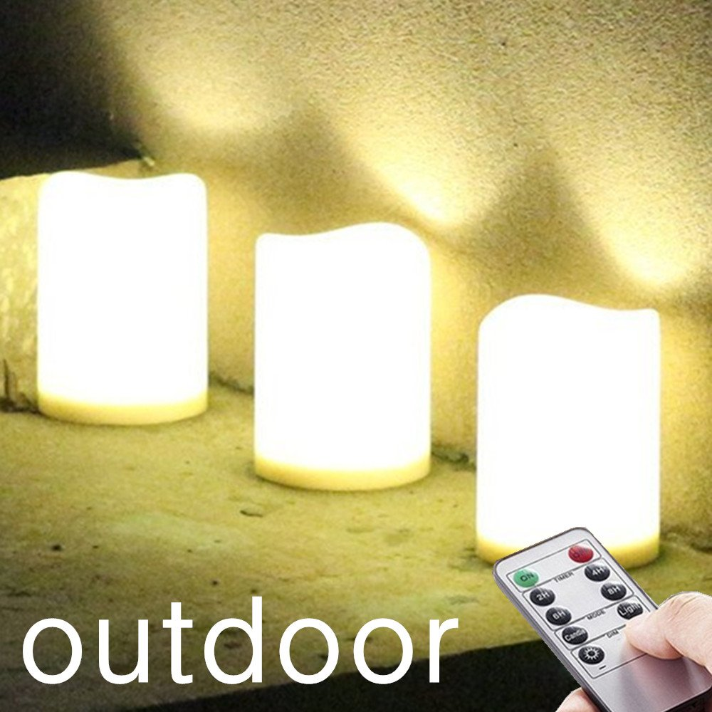 "Outdoor / Indoor Rainproof Waterproof Flameless Battery LED Pillar Candles with Remote and Timer, Made of Plastic, Won't Melt, Weather Resistant Design 3 x 4"" Set of 3.Warm White LED, Timer 24"