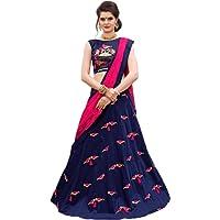 Dharmi Fashion Women's Silk Lehenga Choli (Blue_Free Size, Semi-Stitched)