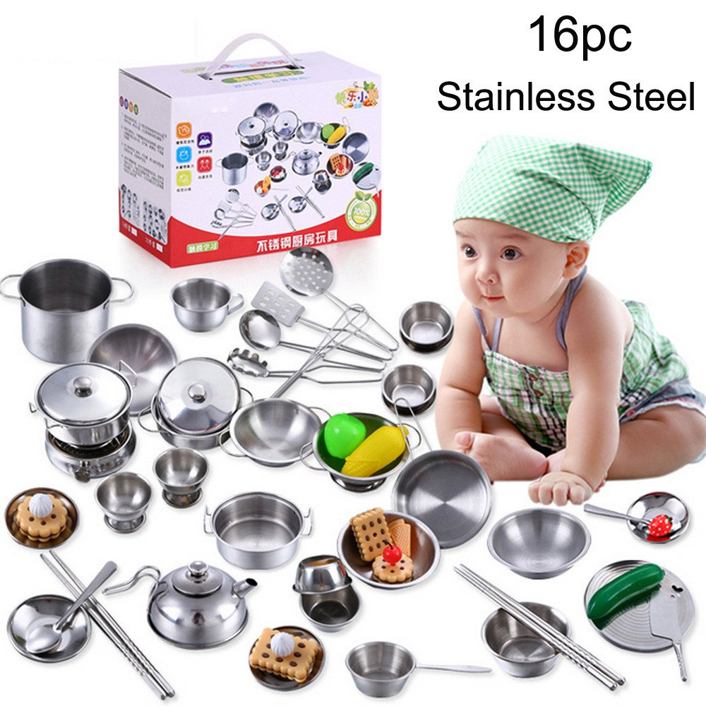 Pretend Play 12pcs Kitchen Stainless Steel Cooking Toys Kit Kids Mini Pretend Play Tool Simulation Cooking Pots Pans Food Kids Babies Gifts