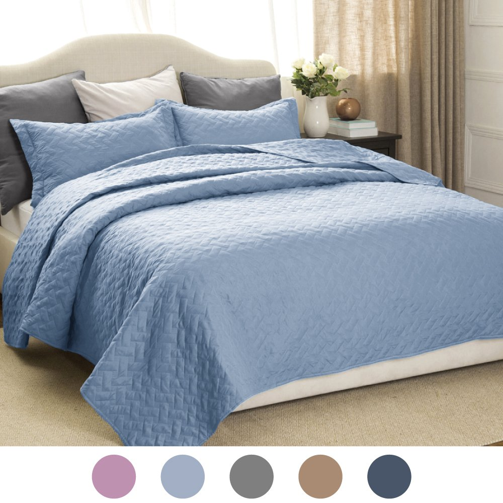 Quilt Set Solid Grayish Blue King Size(106\