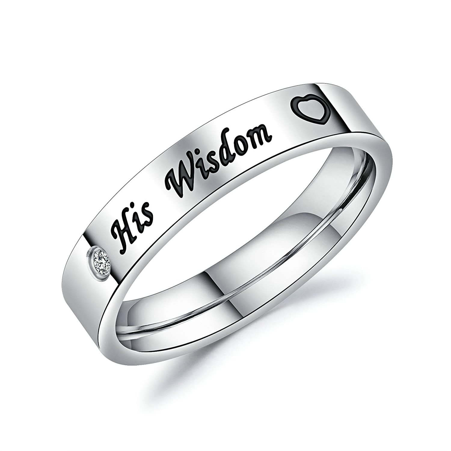 Aooaz In Love Rings Stainless Steel Engagement Rings Friendship Rings Silver Her Beauty Love Heart His Wisdom Love Heart Rings With Free Engraving Novelty Jewelry Gift