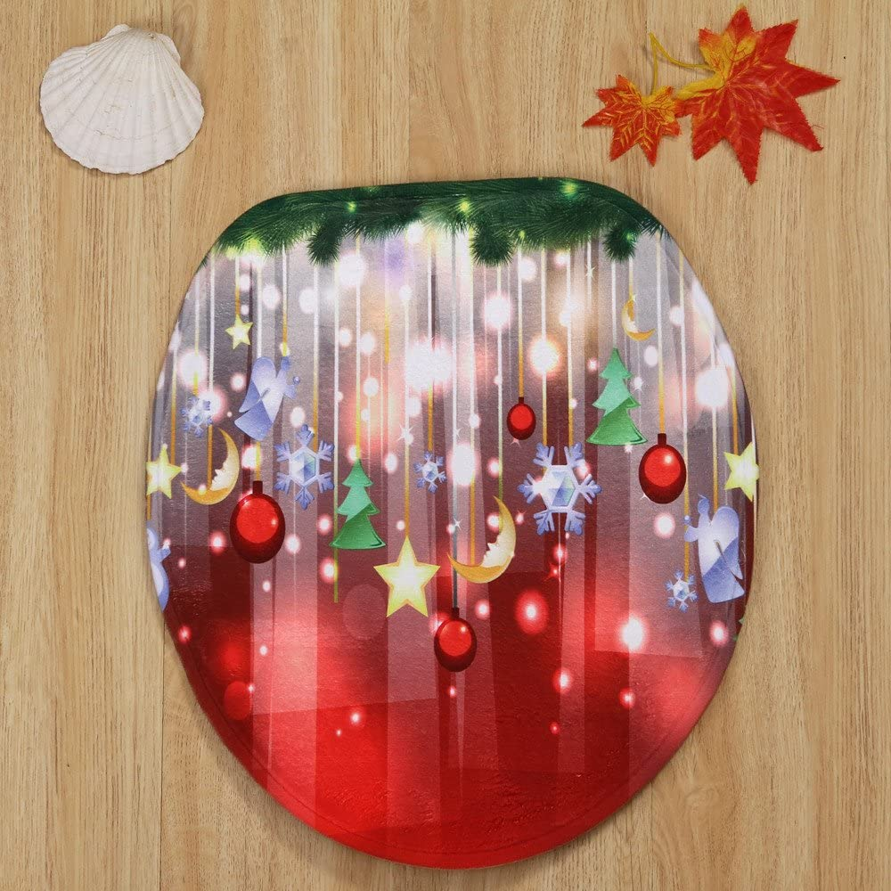 Bath Mat Set for Home Toilet Decorations Lid Toilet Cover 3PCS Christmas Tree Snowman Bathroom Non-Slip Pedestal Rug Wenini Christmas Bathroom Mat E❤️