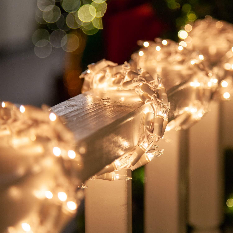 18' Clear Garland Lights on White Wire – Garland Outdoor Lights Garland Christmas Outdoor Lights, Garland String Lights (18 Ft, 600 Lights, Clear Lights on White Wire)