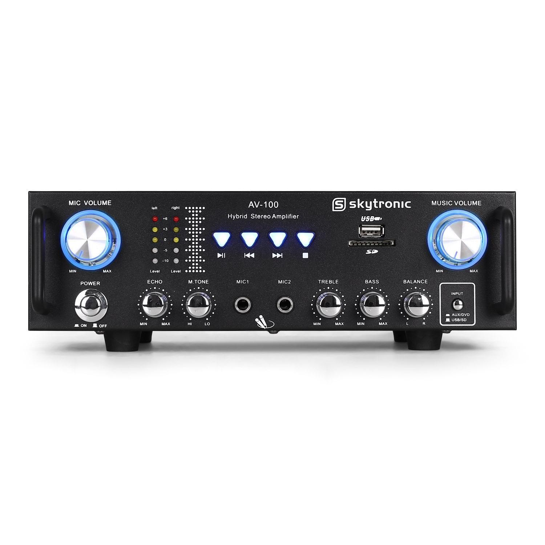Skytronic 103.208 AV-100 Amplificador PA HiFi Karaoke USB: Amazon ...