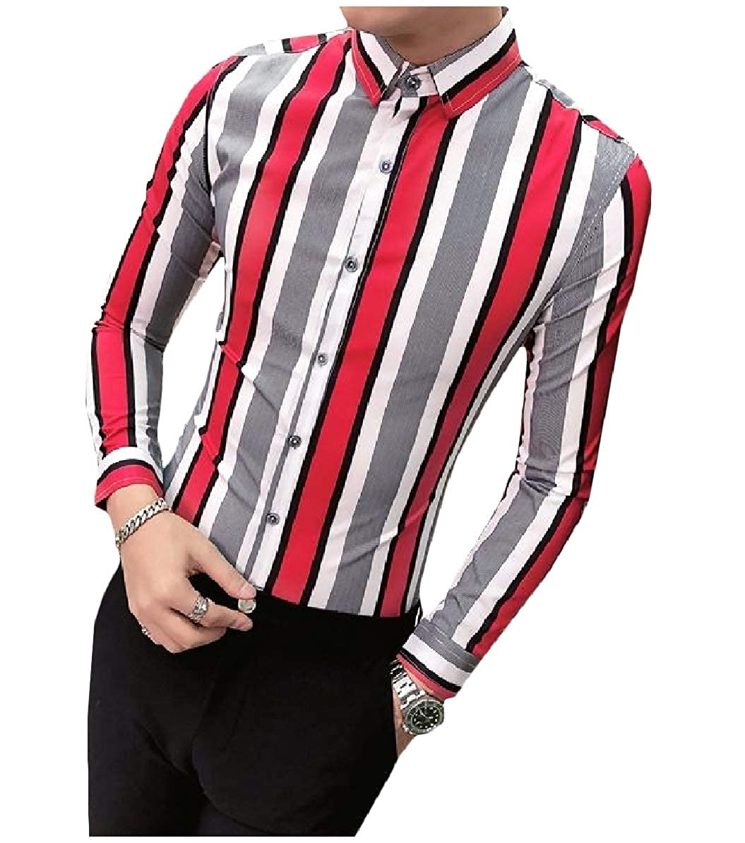 Zimaes-Men Silm Fit Striped Peaked Collar Nightclub Long Sleeve Shirt