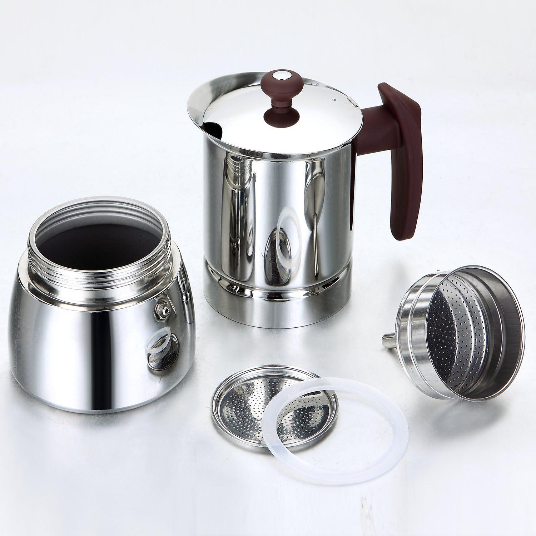 10 Tassen ROSSETTO Espressokocher aus rostfreiem Griff Veilchen