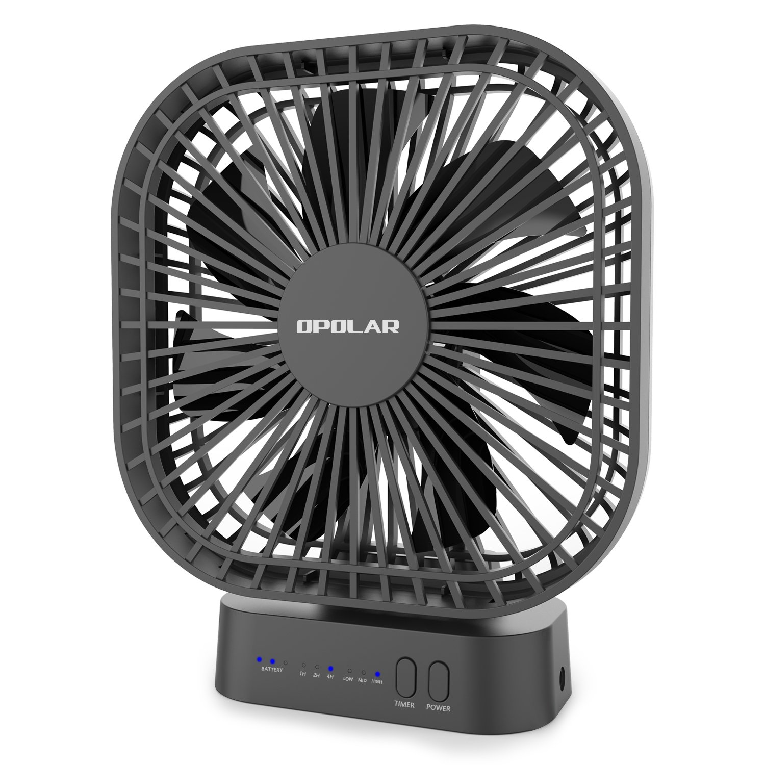 OPOLAR 6700mAh Battery Operated Fan, Personal Table Mini USB Fan with Timer, Strong Wind, 3 Speeds, 7 Blades, Powered by USB or Rechargeable Battery, Super Quiet, for Office, Camping, Outdoor