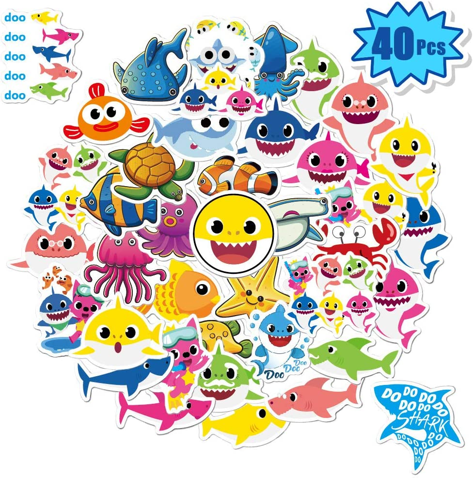 40 Pcs Baby Shark Stickers for Water Bottles, Laptop Decals for Hydro Flask, iPad, Phone, Luggage, Bicycle, Skateboard, Car | Kids Baby Shark Themed Party Favor