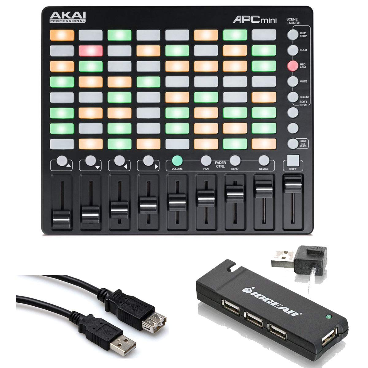 Akai Professional APC mini - Compact Ableton Performance Live Controller with 4-Port USB 2.0 Hub + High Speed USB Extension Cable by Akai