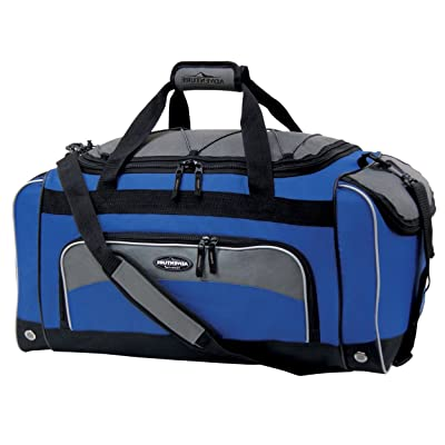 Navy And Black Softsided Sport Duffle Bag, Solid Pattern, Polyester Material