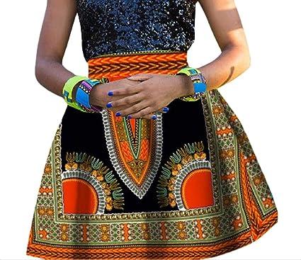 Andopa Algodón de cintura alta falda de línea A-africana de ...