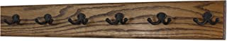 """product image for Oak Wall Mounted Coat Rack with Aged Bronze Dual Style Hooks 4.5"""" Ultra Wide (Walnut, 30.5 x 4.5"""" with 6 Hooks)"""