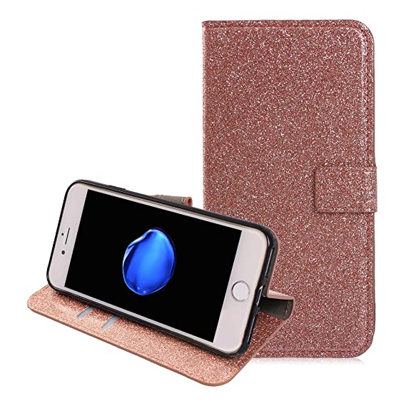 uk availability a1b6a 4ec11 iPhone 7 Wallet Case, iPhone 8 Stand Case, Moon mood Sparkle Glitter PU  Leather Flip Case Cover Magnetic Folio Cover with ID&Credit Card Holder ...