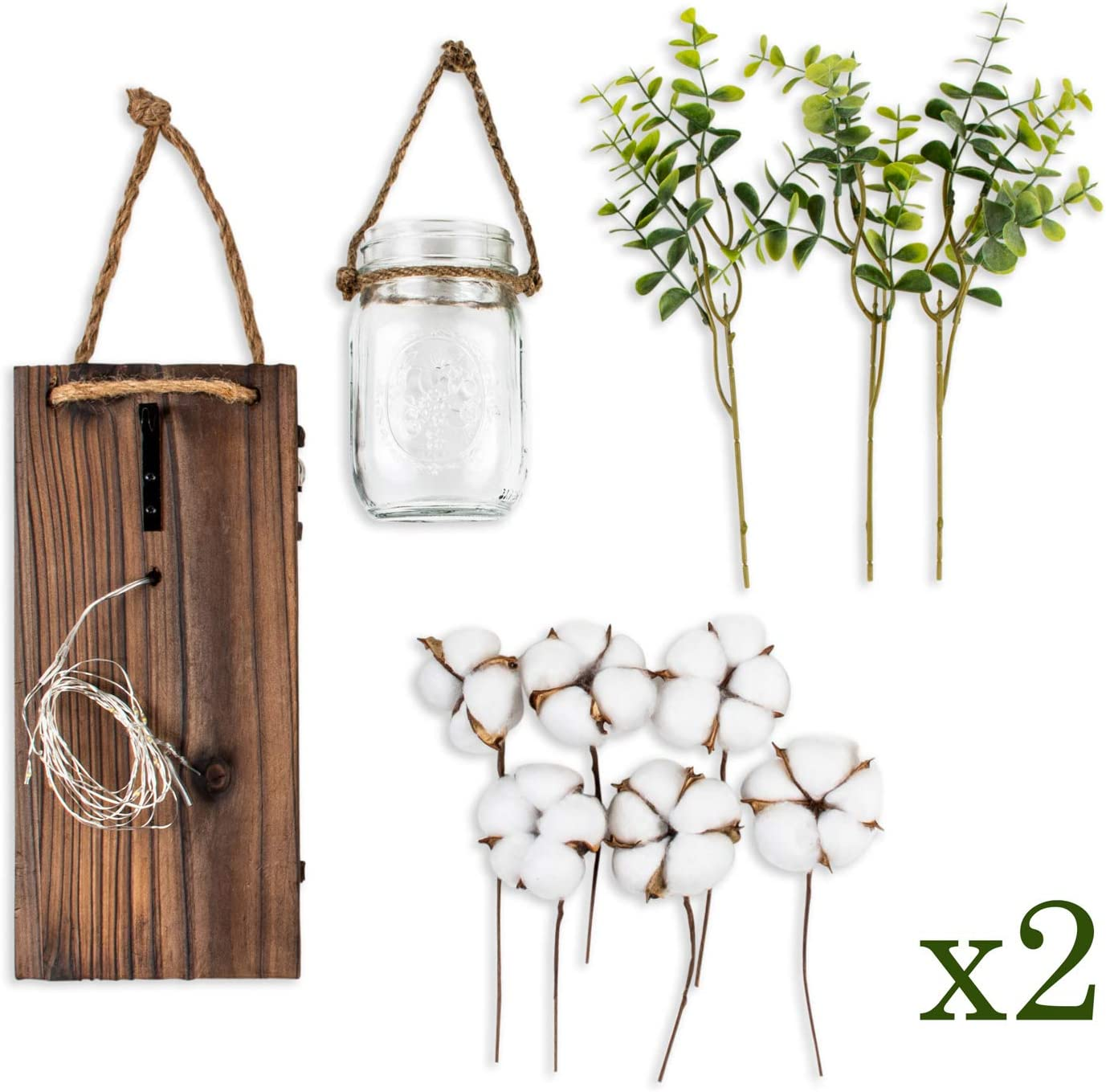 Set of 2 by Happy Moose Co- Vintage Farmhouse Home Decorations for Bathroom Kitchen Bedroom Living Room and Eucalyptus Wall Decor- Rustic Hanging Mason Jar Sconces with LED Lights Cotton Flowers