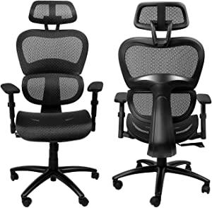 Komene Ergonomic Office Chair with Adjustable 3D Armrest and Headrest Backrest Mesh Chair with Lumbar Support for Home Office Black (Black, X)