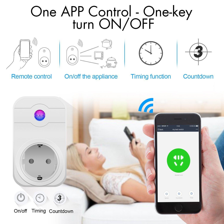 Roadwi WLAN Smart Steckdose, Smart Plug/Wifi Steckdose funktioniert mit Amazon Alexa [Echo, Echo Dot], Steuern Sie Ihr Zuhause von überall und zu jeder Zeit mit Ihrem Tablet oder Smartphone durch App