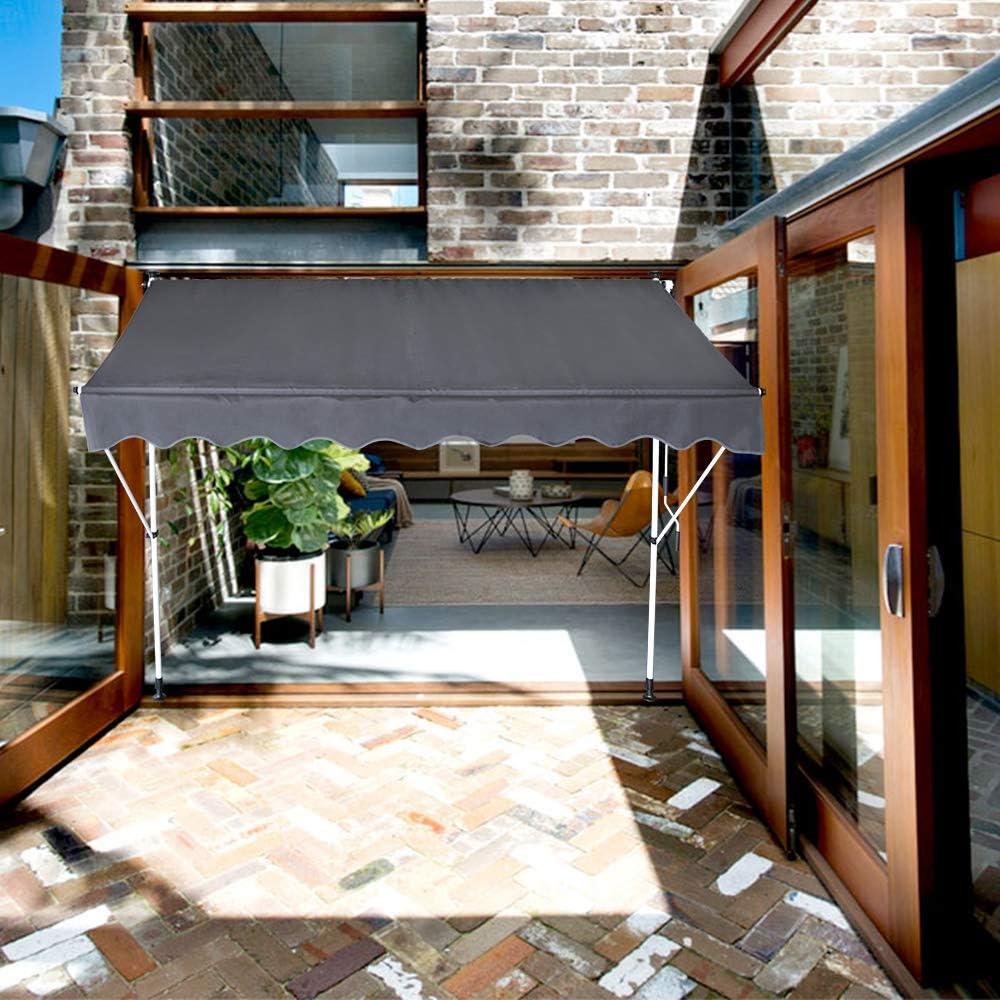 Balkonmarkise ohne Bohren Verstellbar 1,50 x 1,20 m,Blau /& Wei/ß Streifen UV-Schutz Blau /& Wei/ß Streifen UISEBRT Klemmmarkise mit kurbel 150cm breit Wetterfest Sonnenschutz