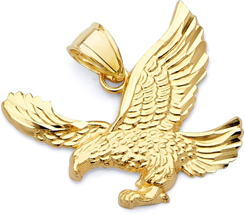 14k Yellow Gold Eagle Pendant Charm