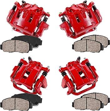 4 Ceramic Brake Pads Kit REAR FRONT Performance Grade Semi-Loaded Powder Coated Red Caliper