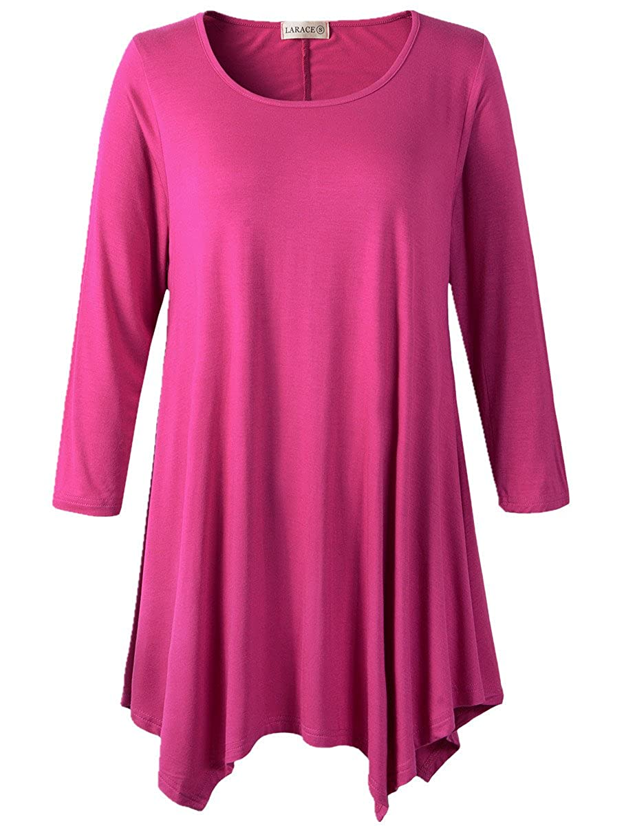 Lanmo Women Plus Size 3/4 Sleeve Tunic Tops Loose Basic Shirt 8028