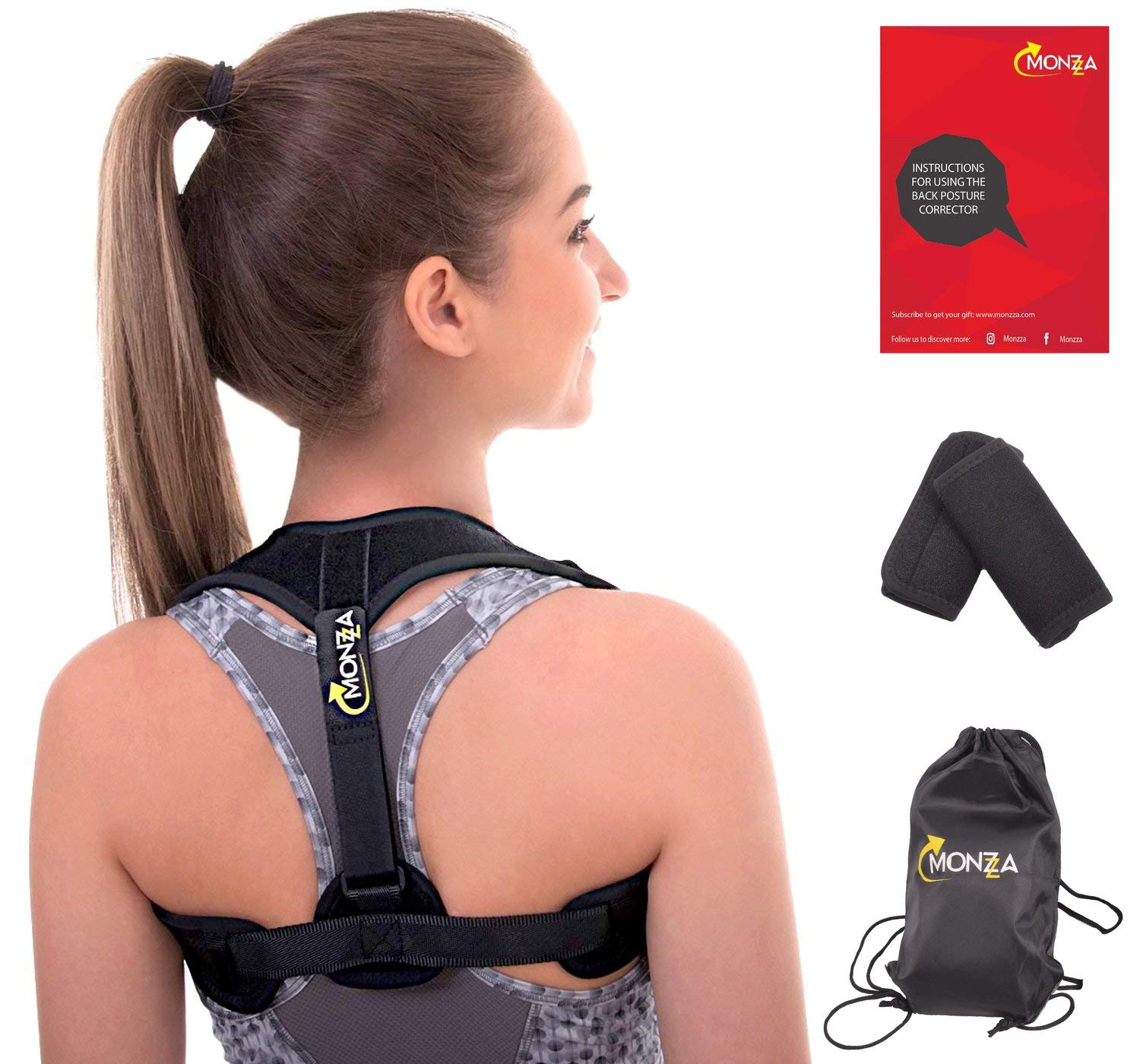 Monzza Bundle Back Posture Corrector for Women and Men | Effective and Comfortable Figure 8 Back Brace | Discreet Design Under Clothes | Primate Self Ajustable Posture | Fits Sizes 25'-50'