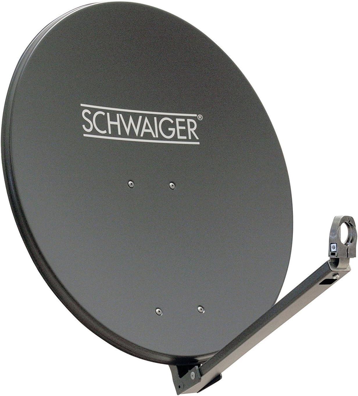 SCHWAIGER -227- Antena satelital | antena satelital con brazo de soporte LNB y montaje en mástil | antena satelital de aluminio | antracita | 74,5 x ...