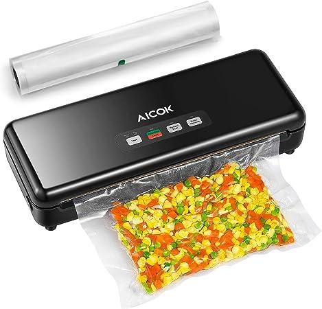 AICOK Envasadora al Vacío Automático, Sellador de Alimentos Automático y Manual de un Toque, 3 en 1 Máquina Selladora al Vacío Doméstico con Cortador, Bolsas de Vacío y Tubo para Botes: Amazon.es