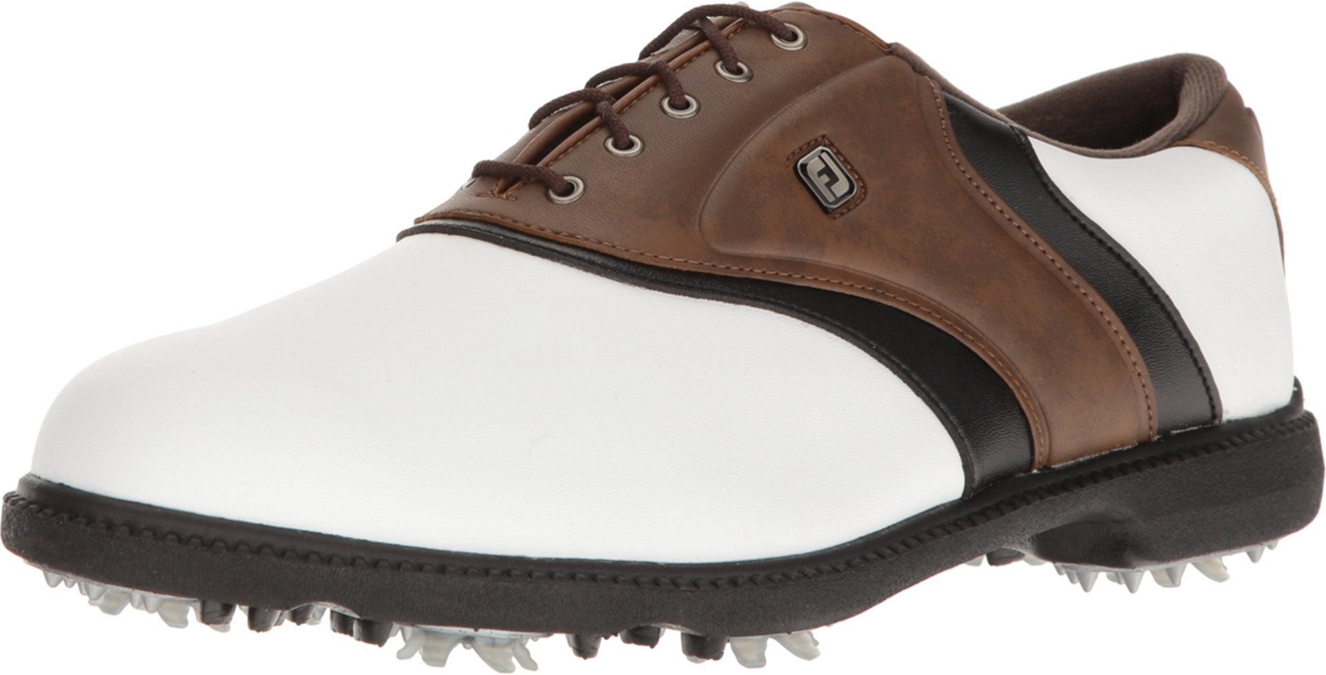 FootJoy FJ Originals Golf Shoes (White/Brown, 10.5) by FootJoy