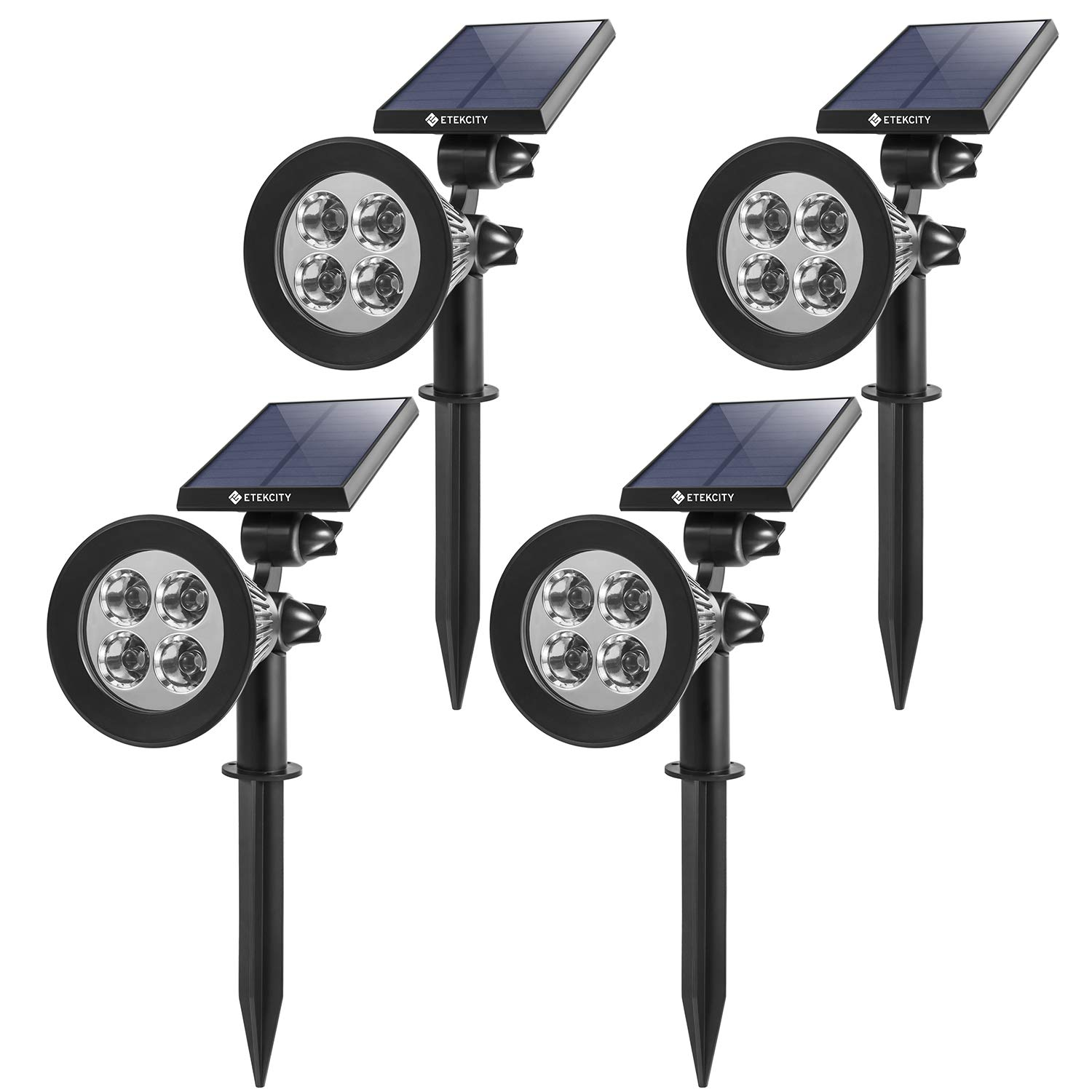 Etekcity Solar Spotlight, Solar Lights Outdoor, Waterproof LED Solar Powered Landscape Light, Wall and In-Ground Lights with Adjustable Brightness, Smart Solar Light Sensor, Auto On/Off, Outdoor Security Lighting for Yard Garden Driveway Pathway and Pool (