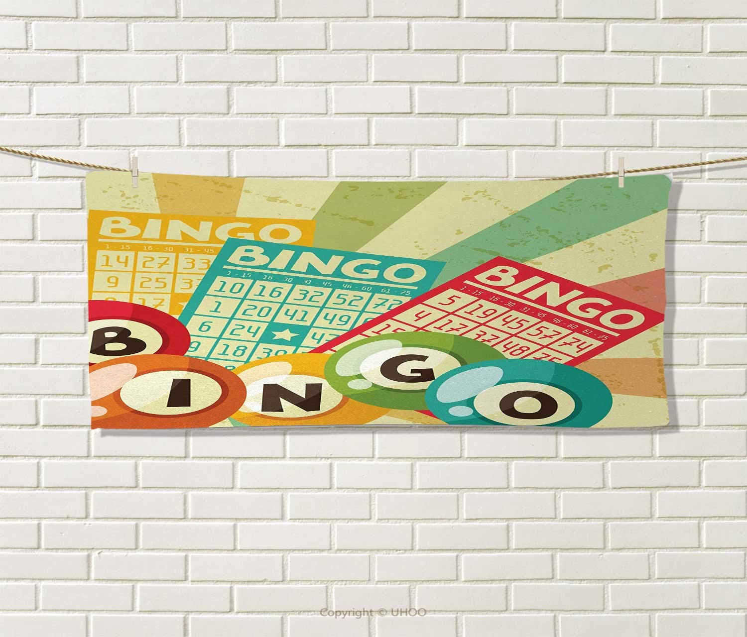 Anniutwo Vintage,Hand Towel,Bingo Game with Ball and Cards Pop Art Stylized Lottery Hobby Celebration Theme,Quick-Dry Towels,Multicolor Size: W 20'' x L 20'' by Anniutwo