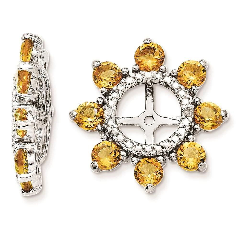 925 Sterling Silver Rhodium-plated Polished Diamond /& Citrine Earring Jacket