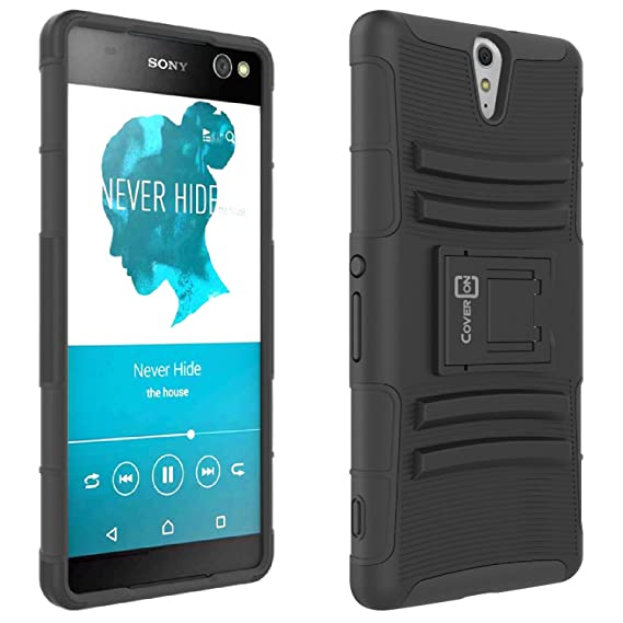 online store 645a9 a8bf4 Sony Xperia C5 Ultra Case, CoverON [Explorer Series] Holster Hybrid Armor  Belt Clip Hard Phone Cover for Sony Xperia C5 Ultra Holster Case - Black