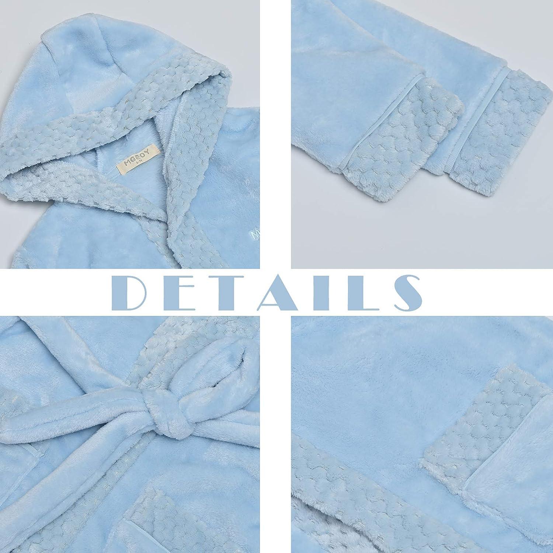Boys Girls Robe Soft Hooded Flannel Bathrobes for Kids with Silk Eye Sleep Mask Size 4-12: Clothing